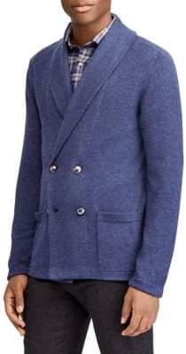 Ralph Lauren Purple Label Men's Double-Breasted Shawl Blazer - Blue - Size Medium