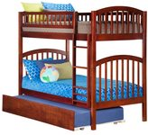 Atlantic Richland Walnut Rubberwood Twin-over-twin Bunk Bed With Urban Trundle Bed
