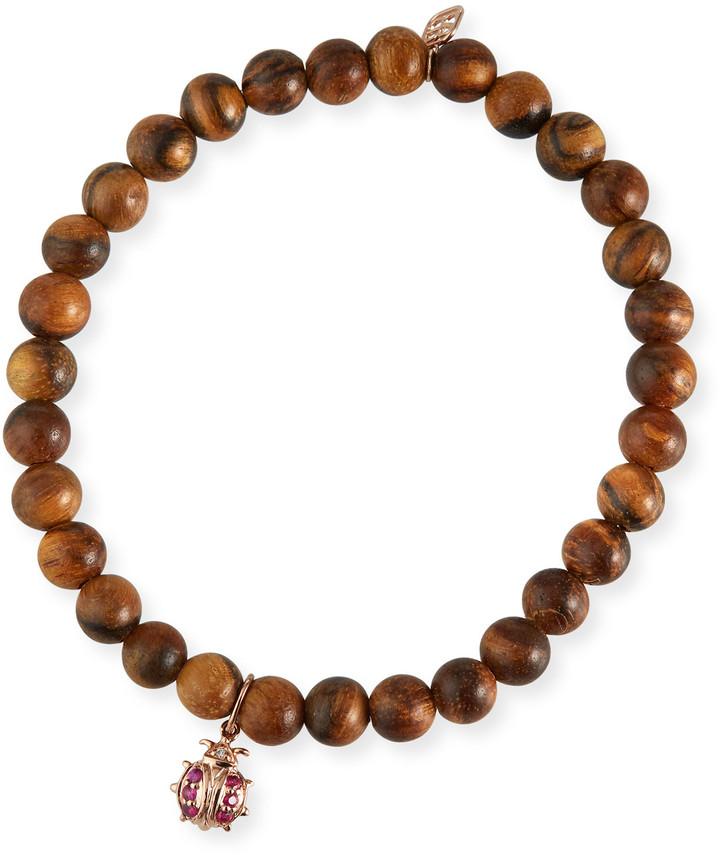 WBB004 Earth Toned Friendship Stretch Bracelet with Leaf Charm Wooden Beaded Bracelet