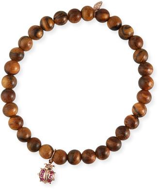 Sydney Evan 14k Rose Gold Wood Ruby Ladybug Bracelet