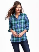 Old Navy Plaid Boyfriend Flannel Shirt for Women