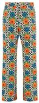 Paco Rabanne Poppy-print Straight-leg Cotton-blend Trousers - Mens - Multi