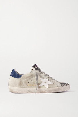 Golden Goose Superstar Denim-trimmed Distressed Snake-effect Leather And Suede Sneakers - Gray