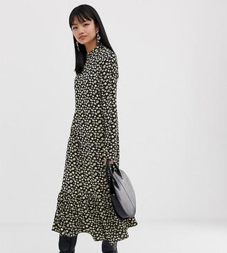 Glamorous Petite midi high neck dress in buttercup floral-Black