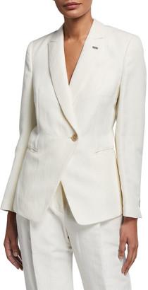 Brunello Cucinelli Cotton-Linen Chevron Asymmetric Uniform Jacket