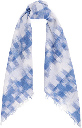 Brock Collection Frayed Printed Cotton Scarf