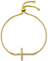 Giani Bernini Cubic Zirconia Cross Adjustable Bracelet in 18k Gold-Plated Sterling Silver or Sterling Silver, Only at Macy's