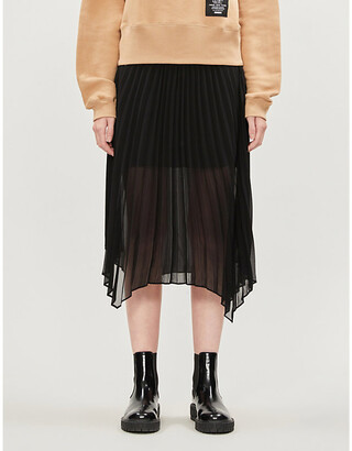 The Kooples Logo-waist pleated chiffon skirt
