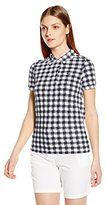 Lacoste Women's Short Sleeve Printed Gingham Polo Shirt