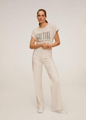 MANGO Cotton modal-blend T-shirt beige - M - Women