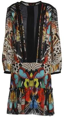 Roberto Cavalli Chiffon-paneled Printed Silk-georgette Mini Dress