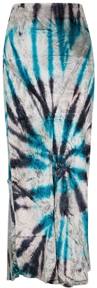 Free People Serious Swagger Tie-dyed Velvet Midi Skirt