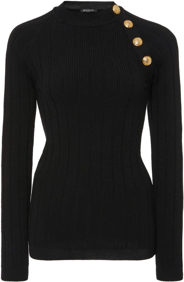 Balmain Button-Trimmed Wool-Cashmere Sweater