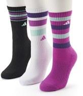 adidas Women's 3-pk. Striped Cushioned Crew Socks