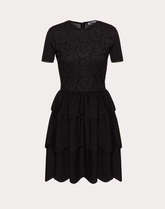 Valentino Wool And Heavy Lace Dress With Scallop Detailing Women Black L