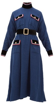 Gucci Velvet Trim Belted Boucle Dress - Womens - Blue