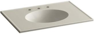 Kohler Ceramic Impressions Rectangular Drop-In Bathroom Sink with Overflow Top Finish: Sandbar Impressions