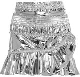 Isabel Marant Jeanne Metallic Coated Cotton-blend Mini Skirt - Silver