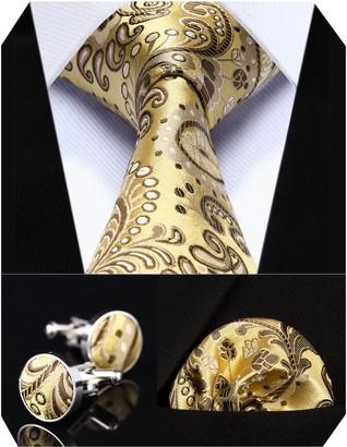 HISDERN Men's Floral Wedding Silk Neck Tie and Pocket Square Cufflinks 3pcs Set One Size Purple/Yellow