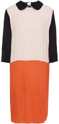 Marni Color-block Crepe De Chine Dress