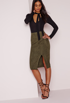 Missguided Thigh Split Faux Suede Midi Skirt Khaki