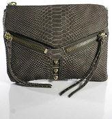 Botkier Brown Leather Snakeskin Pattern Zip Up 6 Pocket Messenger Bag Size Small