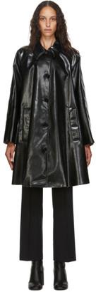 MM6 MAISON MARGIELA Black Pleather Oversize Coat