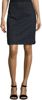 Max Studio Plaid-Print Pencil Skirt, Black/Charcoal/Blue