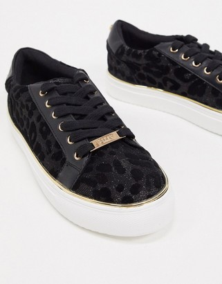 Lipsy leopard detail flatform sneakers in black
