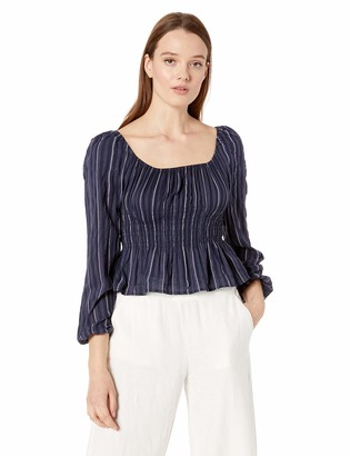 The Fifth Label Women's Coast Long Sleeve Stripe Peplum Blouse Top