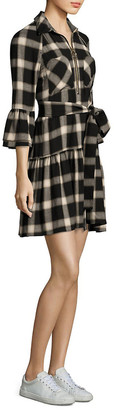Derek Lam Plaid Bell-Sleeve Shirtdress
