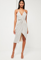 Missguided Silver Sequin Wrap Midi Dress