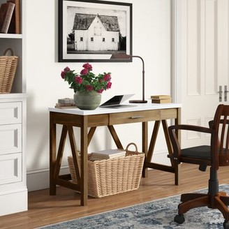 Three Posts Offerman Desk Color (Top/Frame): White/ Natural Walnut