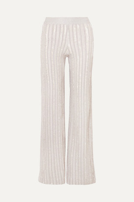 Herve Leger Striped Metallic Knitted Wide-leg Pants - Silver