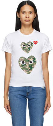 Comme des Garcons White and Camo Double Heart T-Shirt