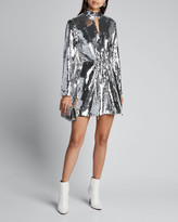 Tibi Avril Sequined Keyhole Short Dress