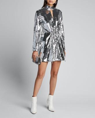 Tibi Avril Sequined Keyhole Short Dress