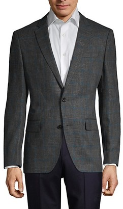 HUGO BOSS Regular-Fit Stretch Virgin Wool-Blend Checker Jacket