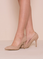 Missy Empire Tiffany Beige Faux Suede Court Heels