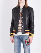 Gucci Tiger-embroidered Leather Bomber Jacket