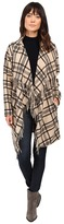 Ivanka Trump Plaid Open Fringe Sweater Knit Cardigan