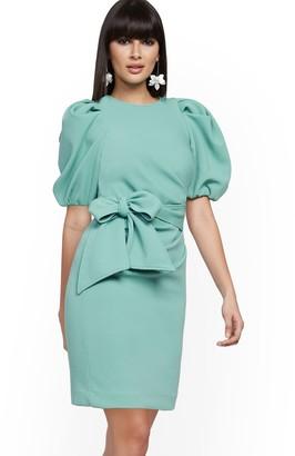 New York & Co. Bow-Accent Pleated Sheath Dress
