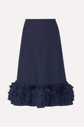 Molly Goddard Nora Ruffled Cotton-poplin Midi Skirt - Navy