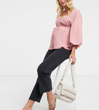 ASOS DESIGN Maternity high rise stretch 'effortless' crop kick flare jeans in washed black with over the bump band