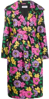 Balenciaga Lush Floral print trench coat