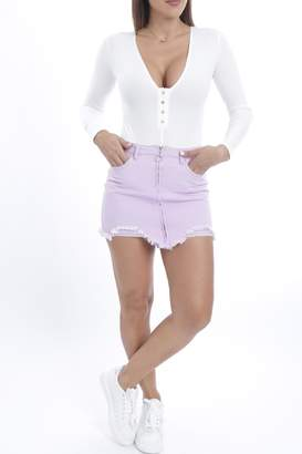 Cattiva Girl Snap-Button V-Neck Bodysuit