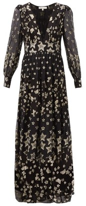 LoveShackFancy Cyrena V-neck Metallic-star Silk-blend Crepe Dress - Black Print