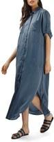 Topshop Women's Washed Satin Maxi Shirtdress