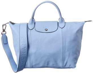 Longchamp Le Pliage Cuir Medium Leather Logo Strap & Short Handle Tote