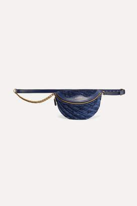 Balenciaga Souvenir Xxs Aj Velvet And Leather Belt Bag - Navy